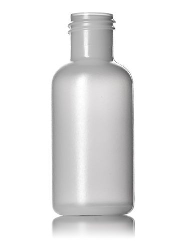 1/2 oz natural-colored HDPE plastic boston round bottle with 15-415 neck finish