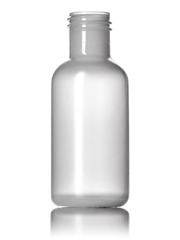 1/2 oz natural-colored MDPE plastic boston round bottle with 15-415 neck finish