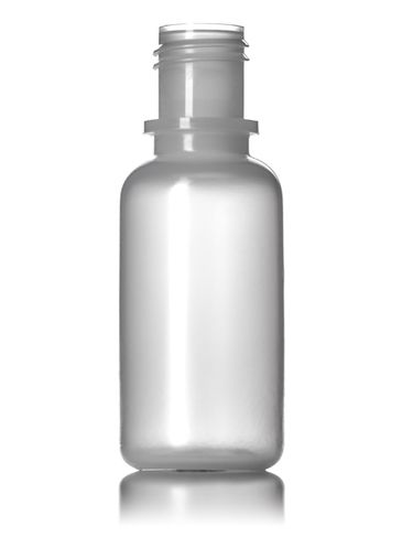 1/2 oz natural-colored LDPE plastic boston round bottle with 15-415 neck finish