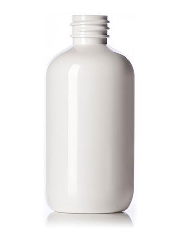 3 oz white PET plastic boston round bottle with 20-410 neck finish
