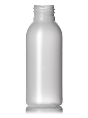 3 oz natural-colored HDPE plastic imperial round bottle with 24-410 neck finish