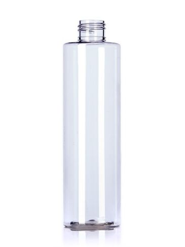 8 oz clear PET plastic cylinder round bottle with 24-410 neck finish