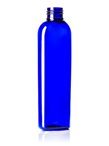 8 oz cobalt blue PET plastic cosmo oval bottle with 24-410 neck finish