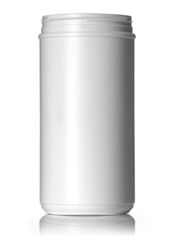 100 oz white HDPE plastic single wall canister with 120mm triple thread neck finish