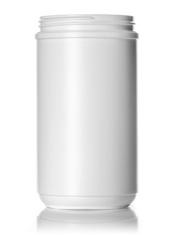 32 oz white HDPE plastic single wall canister with 89-400 neck finish