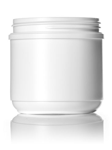 16 oz white HDPE plastic wide-mouth container with 89-400 neck finish