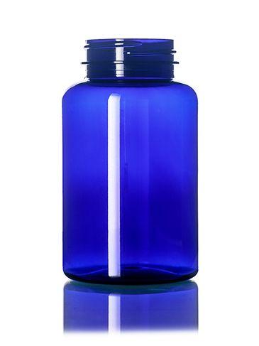 250 cc cobalt blue PET plastic pill packer bottle with 45-400 neck finish