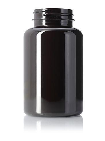 250 cc dark amber PET plastic pill packer bottle with 45-400 neck finish