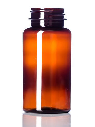 150 cc amber PET plastic pill packer bottle with 38-400 neck finish