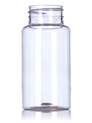 150 cc clear PET plastic pill packer bottle with 38-400 neck finish