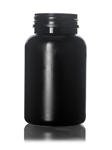200 cc black HDPE plastic pill packer bottle with 45-400 neck finish