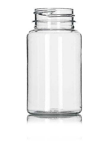 120 cc clear PET plastic pill packer bottle with 38-400 neck finish