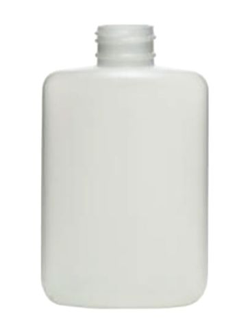 4 oz natural-colored HDPE plastic oval bottle with 24-410 neck finish