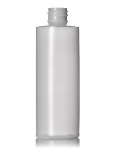 4 oz natural-colored HDPE plastic cylinder round bottle with 20-410 neck finish