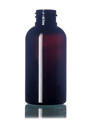 2 oz dark amber PET plastic boston round bottle with 20-410 neck finish
