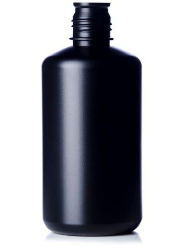 32 oz black HDPE plastic boston round buttress bottle with 38-430 neck finish