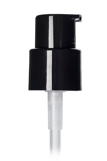 Black PP plastic 20-400 smooth skirt up-lock fingertip treatment pump with 3.5 inch dip tube (0.25 cc output)