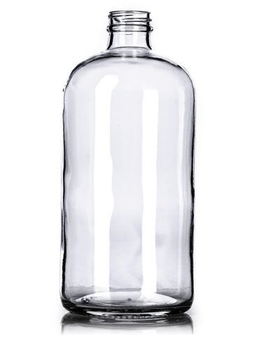 32 oz clear glass boston round bottle with 33-400 neck finish