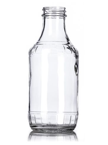 16 oz clear glass syrup or sauce bottle with 38-400 neck finish