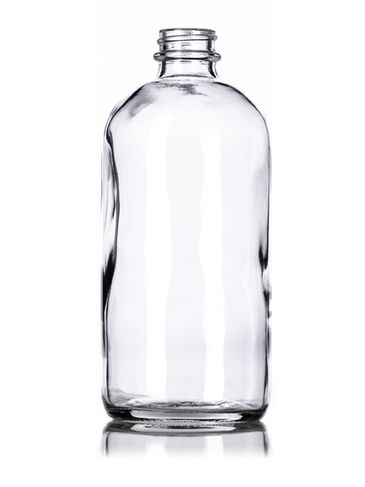 16 oz clear glass boston round bottle with 28-400 neck finish