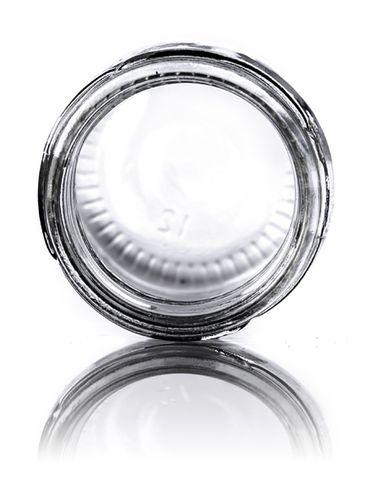 1.25 oz clear glass round jar with 43TW neck finish