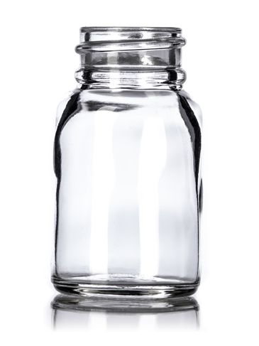 1 oz clear glass boston round bottle with 28-400 neck finish