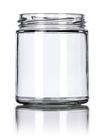 9 oz clear glass straight-sided round jar with 70TW neck finish