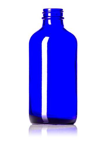 8 oz cobalt blue glass boston round bottle with 28-400 neck finish