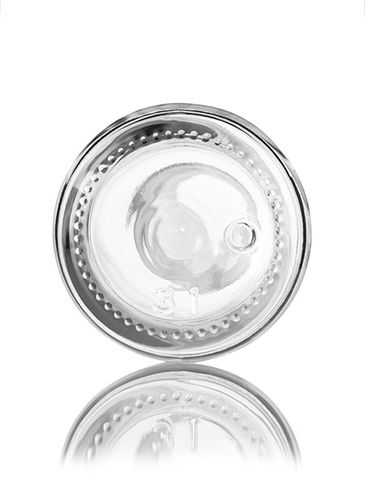 60 mL clear glass boston round euro dropper bottle with 18-DIN neck finish