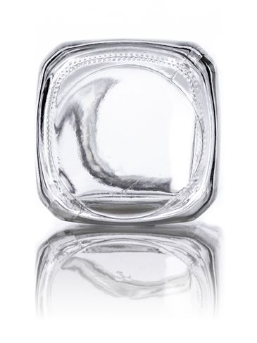 8 oz clear glass french square bottle with 43-400 neck finish
