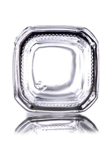 2 oz clear glass french square bottle with 28-400 neck finish