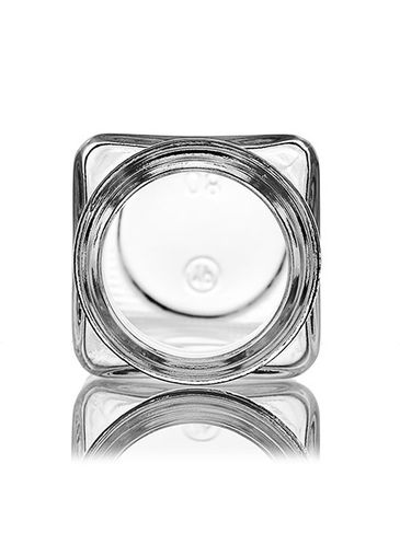 4 oz clear glass square spice bottle with 43-400 neck finish