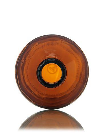 16 oz amber glass boston round bottle with 28-400 neck finish