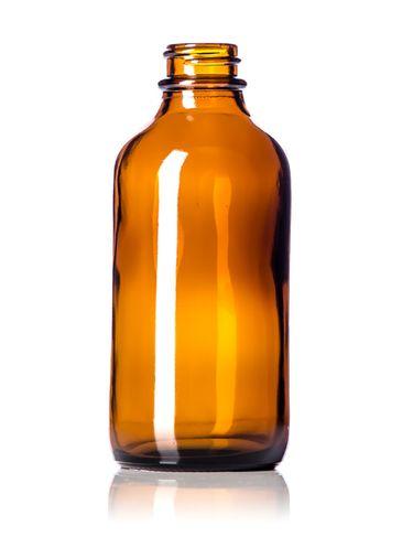 4 oz amber glass boston round bottle with 22-400 neck finish