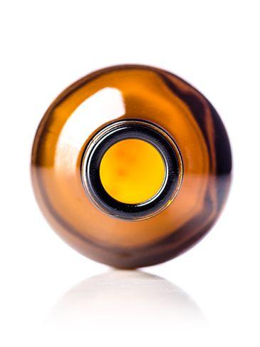 8 oz amber glass boston round bottle with 28-400 neck finish