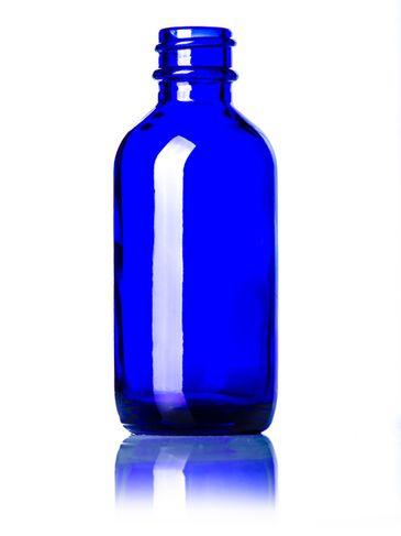 2 oz cobalt blue glass boston round bottle with 20-400 neck finish