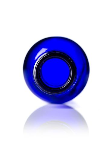 1 oz cobalt blue glass boston round bottle with flat ring and with 20-400 neck finish