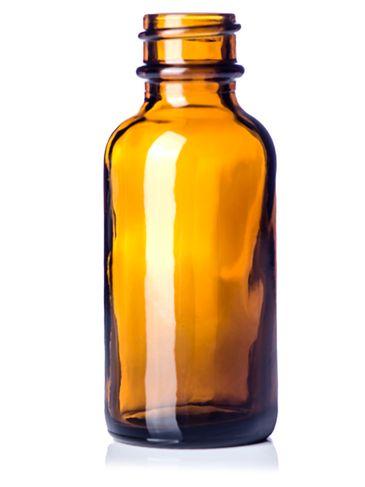 1 oz amber glass boston round bottle with 20-400 neck finish