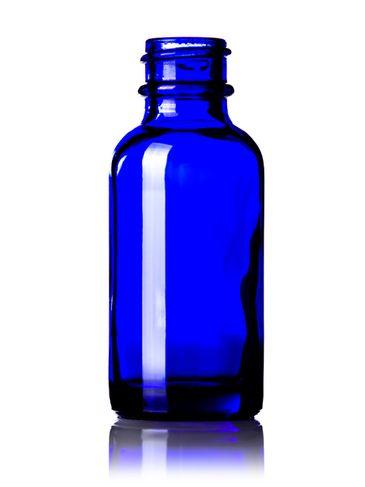 1 oz cobalt blue glass boston round bottle with 20-400 neck finish