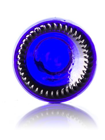 .5 oz cobalt blue glass boston round bottle with 18-400 neck finish