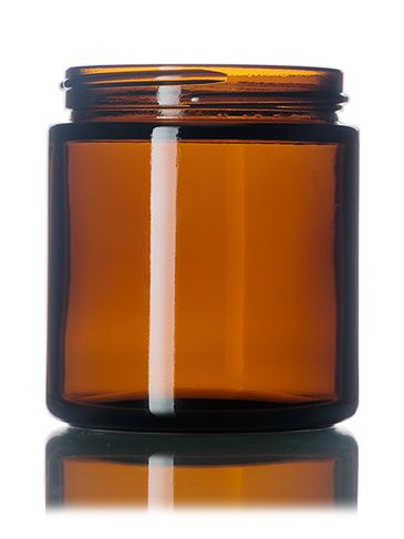 4 oz amber glass straight-sided round jar with 58-400 neck finish