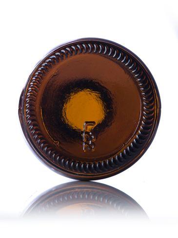 4 oz amber glass boston round bottle with 24-400 neck finish