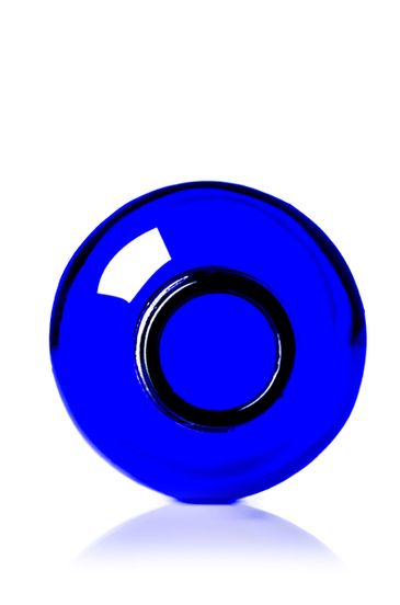 4 oz cobalt blue glass boston round bottle with 24-400 neck finish