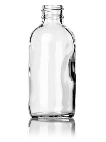 4 oz clear glass boston round bottle with 24-400 neck finish