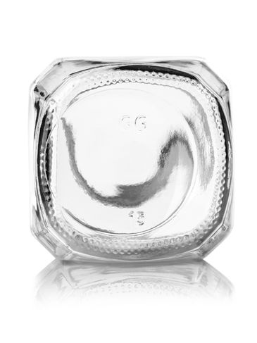 16 oz clear glass french square bottle with 48-400 neck finish