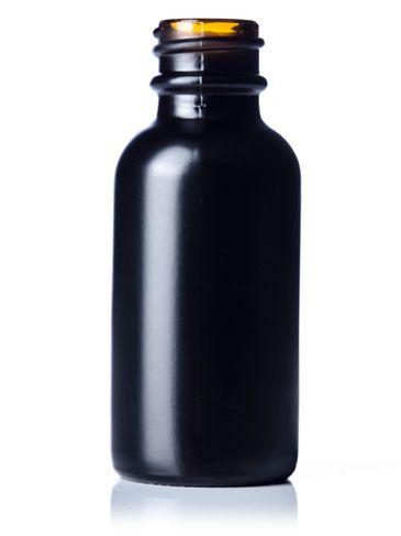 1 oz black-colored amber glass boston round bottle with 20-400 neck finish