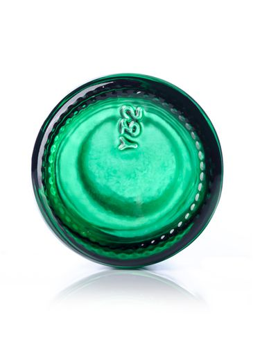 1 oz green-shaded clear glass boston round bottle with 20-400 neck finish