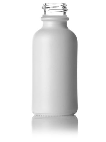 1 oz matte white-colored clear glass boston round bottle with 20-400 neck finish