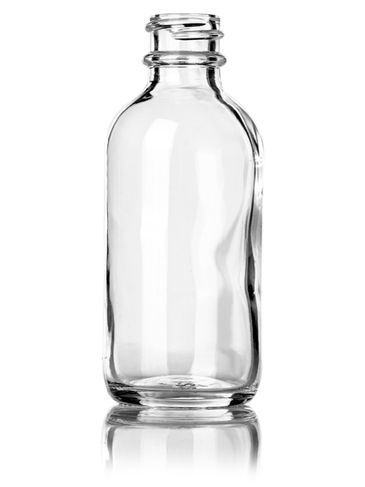 2 oz clear glass boston round bottle with 20-400 neck finish