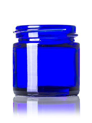 1 oz cobalt blue glass straight-sided round jar with 43-400 neck finish
